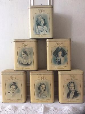 ~*RARE Set of Six Divine Vintage French Kitchen Storage Tins*~