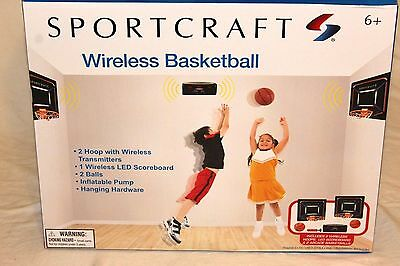 Sportcraft Indoor Wireless Basketball Game Set With 2 Hoops New