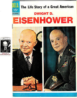 DWIGHT D. EISENHOWER 1 SHOT His Life Story (VF-) 1969 Dell + old 6c Stamp