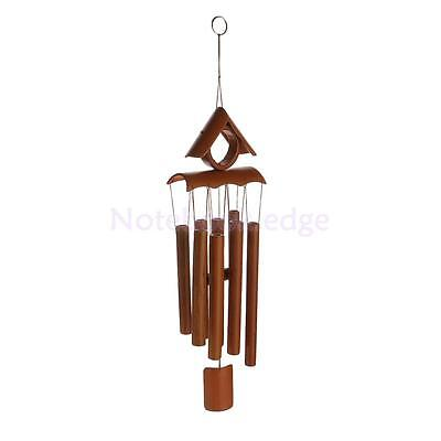 Deep Relaxing 8 Tubes Bamboo Roof Chapel Bells Windmill Wind Chimes Decor