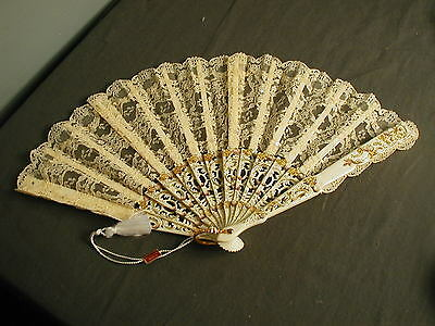 Plastic & Lace Ladies Fan - Decortaed With Gold & Sequins - Made In Spain 9X17