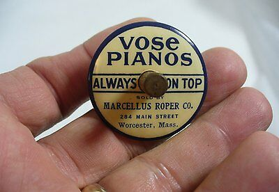 Vintage Finger Advertising Top -Vose Pianos Celluloid over tin