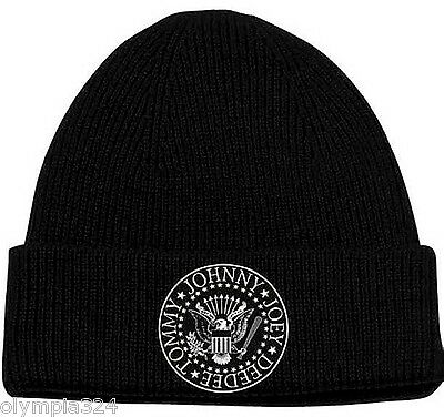 RAMONES, The BEANIE SKI HAT/CAP Knit Embroidered 'Seal Logo' Licensed NEW