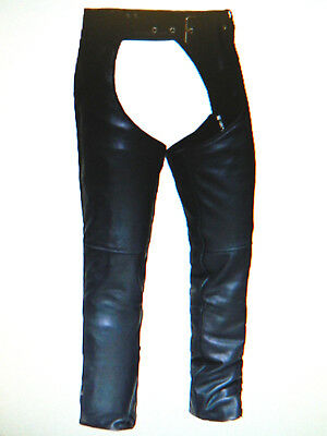 Leather Motorcycle Biker Chaps Snap-Out Liner Lined CUT TO YOUR SIZE! Men Women