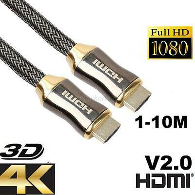 1-10M Premium Ultra HD HDMI Cable v2.0 High Speed Ethernet HDTV 2160p 4K 3D GOLD