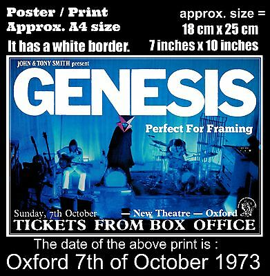 Genesis live concert New Theatre Oxford 7th of October 1973 A4 size poster print