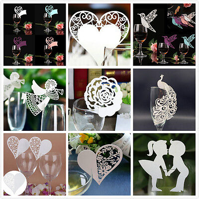 Hot! 50Pcs Name Place Cards For Wedding Party Table Wine Glass Decoration Lot