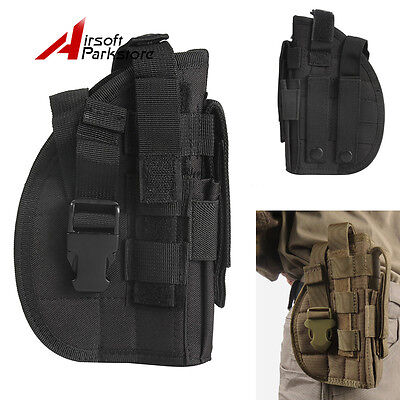 Tactical Right Hand Molle Belt Pistol Gun Holster Pouch Hunting Paintball Black