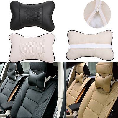 Leather Auto Vehicle Car Seat Head Rest Neck Pillow Cushion Headrest Travel Bone