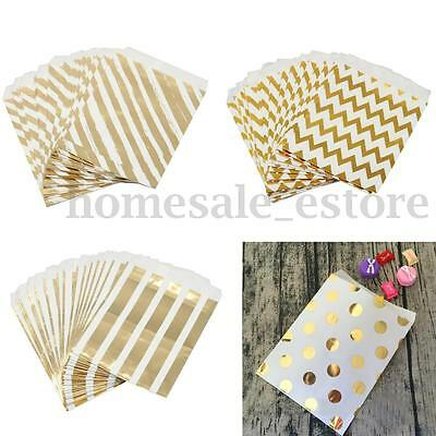 100Pcs Foil Gold Paper Sweet Bag Candy Favor Wedding Party Birthday Gift Decor