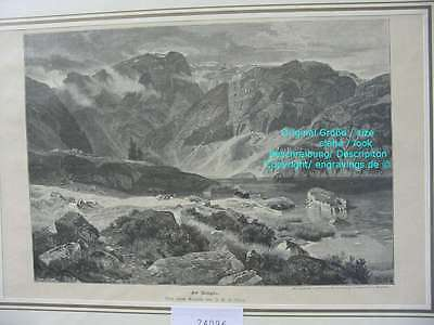 74096-Schweiz-Swiss-Switzerland-Murgsee-Murgseen-T Holzstich-Wood engraving