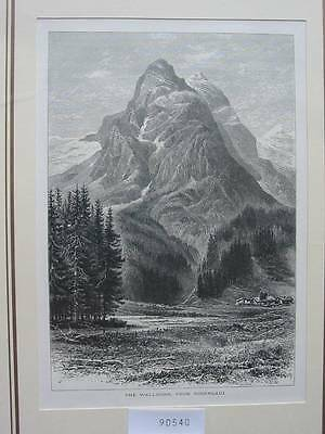 90540-Schweiz-Swiss-Switzerland-Wellhorn-Rosenlaui-T Holzstich-Woodengraving