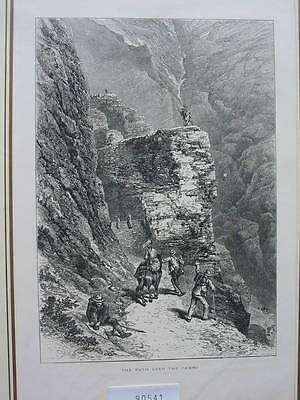 90541-Schweiz-Swiss-Switzerland-Gemmi-T Holzstich-Woodengraving