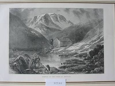 90546-Schweiz-Swiss-Switzerland-Great St.Bernard-T Holzstich-Woodengraving