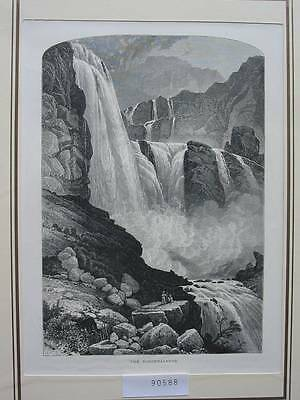 90588-Norwegen-Norway-Norge-Ringdalsfos-T Holzstich-Wood engraving