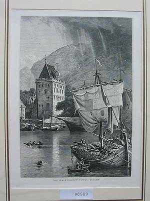 90589-Norwegen-Norway-Norge-Bergen-T Holzstich-Wood engraving