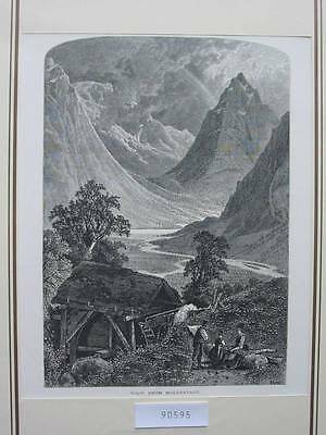 90595-Norwegen-Norway-Norge-Moldestadt-T Holzstich-Wood engraving