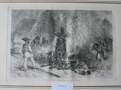 92802-Amerika-America-Guayana-Guiana-Cremation Verbrennen-T Holzstich-engraving