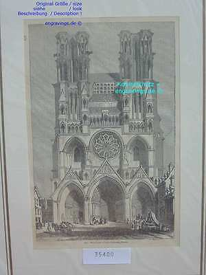 35400-Frankreich-France-Française-Laon Cathedral-T Holzstich-Wood engraving-1850