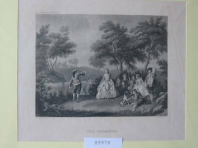 88978-Fete Champetre-Stahlstich-steel engraving