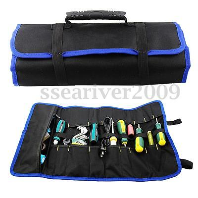 Hardware Tools Roll Plier Screwdriver Spanner Carry Case Pouch Bag 19 Pockets
