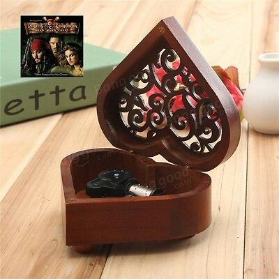 HEART WOOD SILVER WIND UP MUSIC BOX : Davy Jones Theme Song