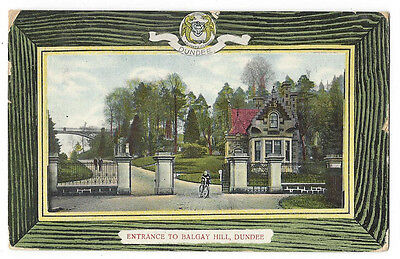 DUNDEE Entrance to Balgay Park, Old Postcard Postally Used 1908