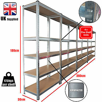 4 x Pack Racking Bays 5 Tier Boltless Garage Shelving Storage Unit Rack 360cm