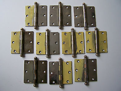 LOT OF 10 VINTAGE Cannon Ball Tip Chrome Plated Steel Hinges 3 X 3 STEEL MAN