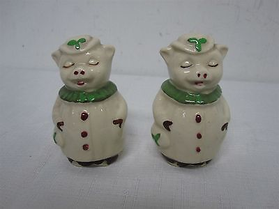 Pair Of Vintage Shawnee Winnie Green Clover Bud Salt + Pepper Shakers