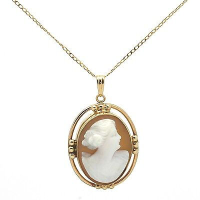 Vintage Barrasso & Blasi 10K Solid Gold Carved Shell Cameo Pendant Necklace 4 g.