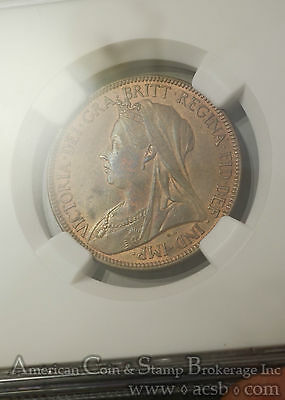 Great Britain 1/2d Half Penny 1901 MS63 RB NGC bronze KM#789 Victoria Frosty