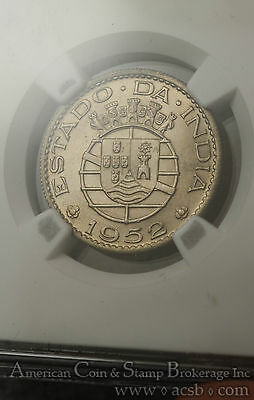 India-Portuguese 1/2 Rupee 1952 MS65 NGC KM#26 Gem White Unusual