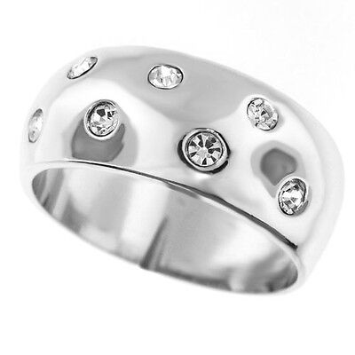 Seven Crystal Stones Wide Band Silver Rhodium EP Ladies Ring Size 10 1/4