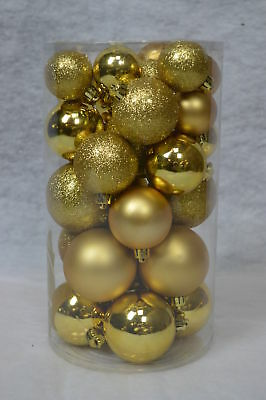 Pack of 30 Assorted Shatterproof Christmas Tree Bauble Decorations - Gold