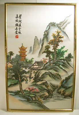Chinese Wood Framed Silk Watercolor Painting Embroidery Landscape
