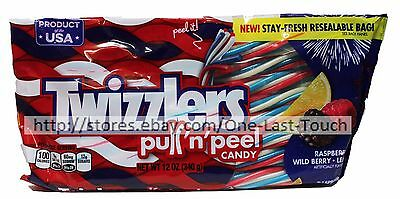 TWIZZLERS 12 oz Bag PATRIOTIC Pull nPeel Candy RASPBERRy+LEMONADE+BERRY Ex 6/17+