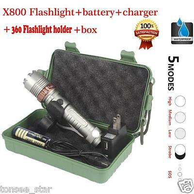 X800 Zoomable XML T6 LED Tactical Flashlight+18650 Battery+Ladegerät+Case Lampe