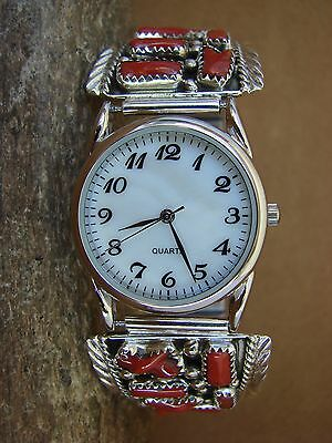 Navajo Indian Jewelry Sterling Silver Coral Watch by Marlene Yazzie