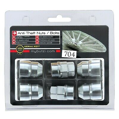 Butzi (12x1.50) Chrome Anti Theft Locking Wheel Bolt Nuts & 2 Keys for Volvo V40