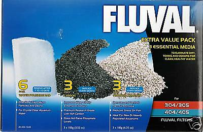 Fluval 304 305 306 404 405 406 Value Media Pack Carbon Polishing Pad Zeolite