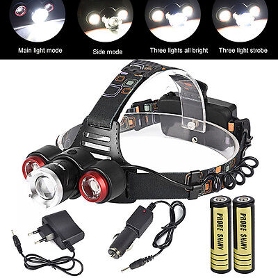 10000Lm XML T6 2R5 3 LED Head Light Headlamp Headlight Torch+2X18650+Charger