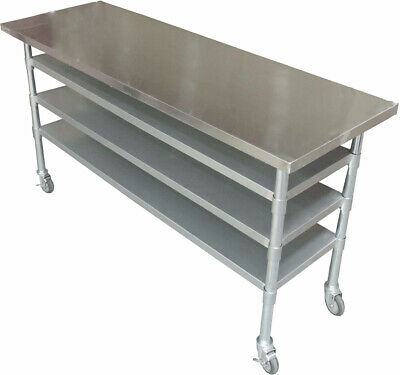 1.8M #304 Gym Cafe Stainless Steel  Bench Station,1 Set Wheels ,3 Undershelf