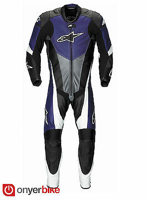 Alpinestars Mens S-Moto One 1 Piece Leather Race Supermoto Motorbike Suit Blue