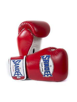 Sandee Authentic Muay Thai Red & White Leather Boxing Gloves Sparring