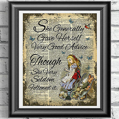 DICTIONARY PAGE ART PRINT VINTAGE ANTIQUE BOOK Alice in Wonderland ADVICE Quote