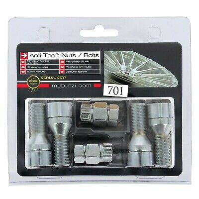 Butzi Chrome Anti Theft Locking Wheel Nut Bolts & 2 Keys for BMW 5 Series 2010>
