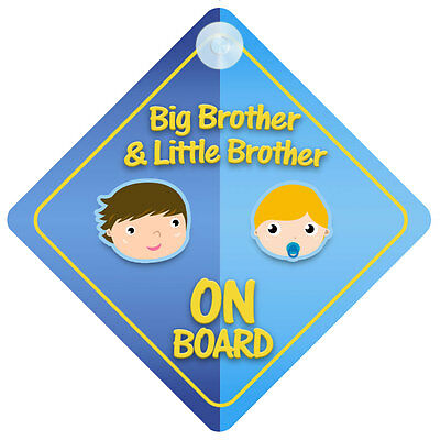 Big Brother And Little Brother On Board Car Sign New Baby/Child Gift/Present