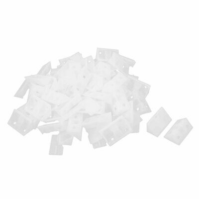 Furniture Fitting Plastic Angle Brackets Support Holder Clear White 50 Pcs
