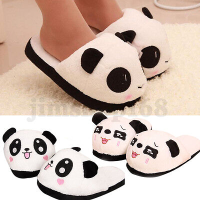 New Women Men House Indoor Panda Slippers Warm Soft Plush Antiskid Shoes Sandals